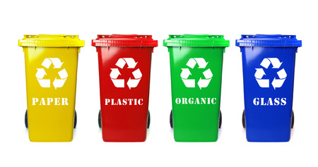 segregate: Four colorful recycle bins on white