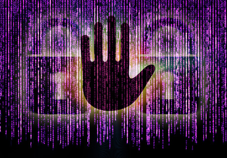 cyber defence: Symbol of internet security with padlock hand and binary character