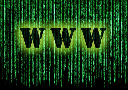 World wide web text with background matrix Stock Photo