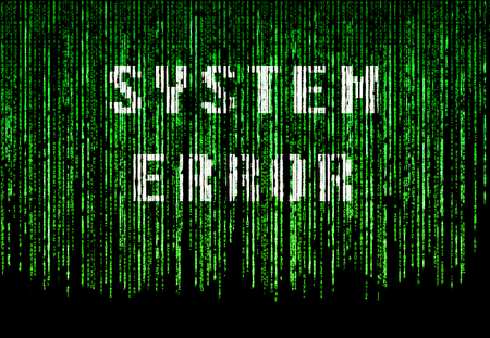Green matrix background with text system failure
