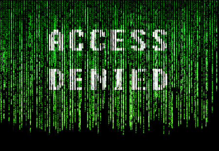 access denied: Green matrix background system with access denied text