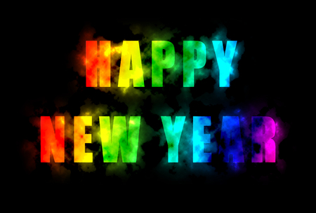rainbow colors: Happy new year with rainbow colors Stock Photo