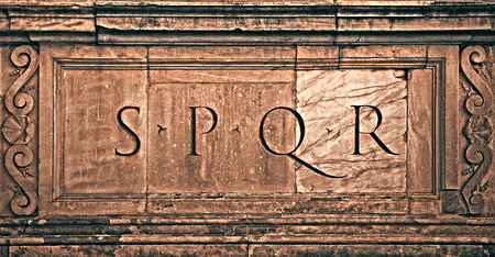 spqr: Rome, Italy. Roman symbol SPQR, Italian architecture detail