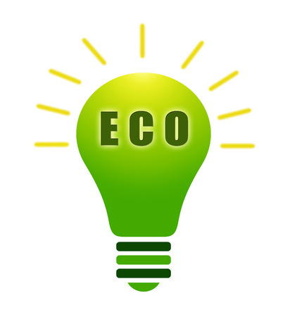 green bulb: Illustration of green bulb on white background with eco tex