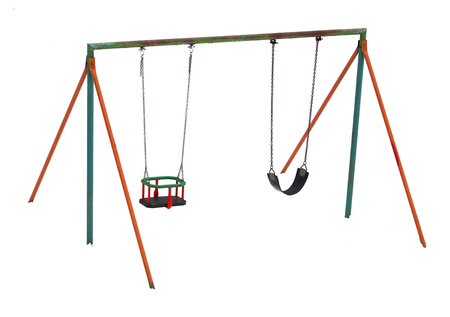 Isolated Colorful swing in winter Stock Photo