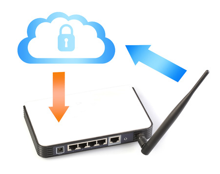 Router network with secure Internet cloud symbol