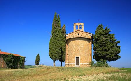 pienza: Chapel of the Madonna of Vitaleta, San Quirico dOrcia, Italy, Tuscany Stock Photo