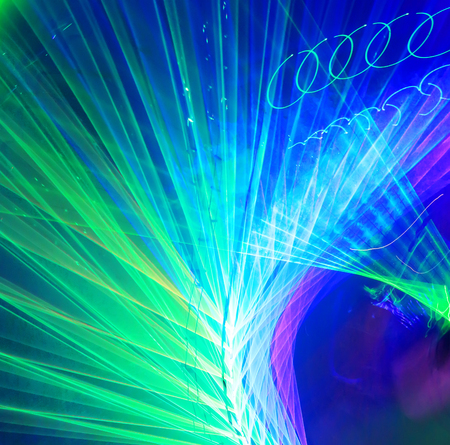 Colorful twirled laser lights lines