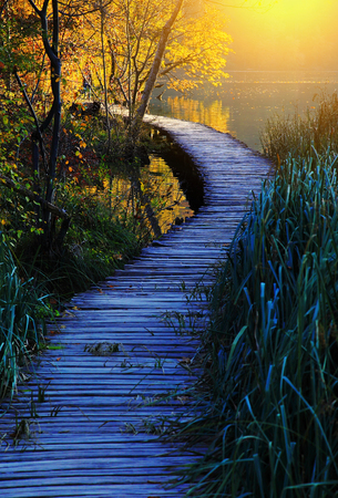 Wooden path in the Plitvice Lakes national park, Croatia, Europe