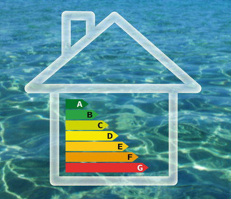 Energy efficiency chart in house against water background