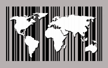 World map on barcode background 写真素材