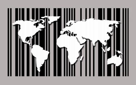 Weltkarte auf Barcode Hintergrund Standard-Bild - 90394115