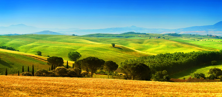 Beautiful landscape, tourist visit in Tuscany, Val Dorcia, Italy