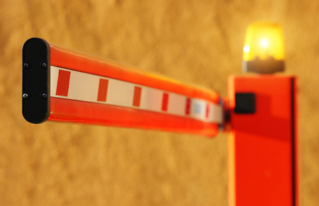Red barrier with lamp Stock Photo