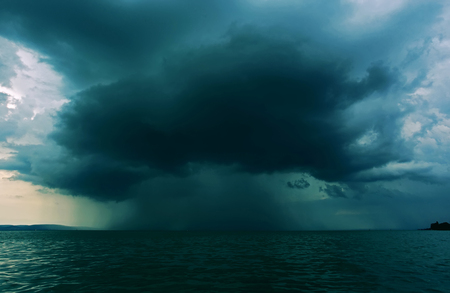 Supercell thunderstrom foorming above water surface