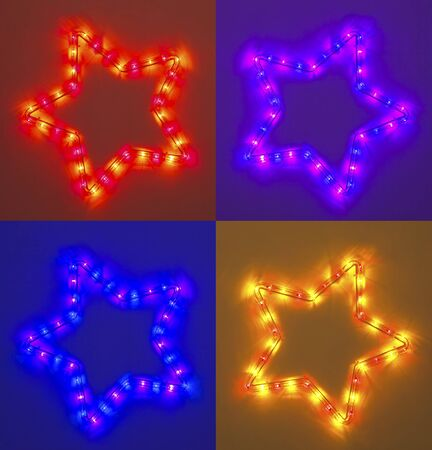 Four colorful light five point star, christmas decoration