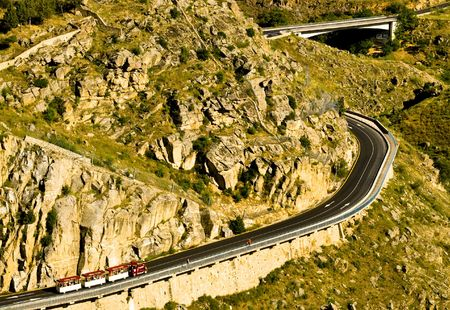 cornering: Little tourist train full of people testing its power