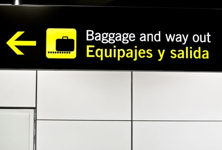 barajas: Information panel in Barajas airport, Madrid. Stock Photo