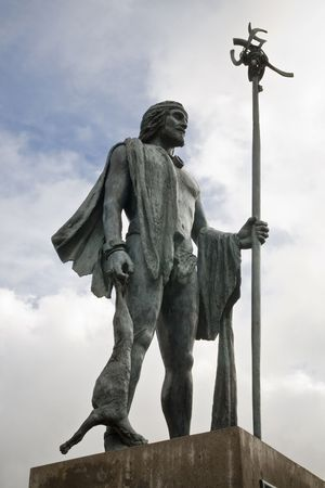 canarian: Statue of a Canarian guanche, aborigen of the Canary islands