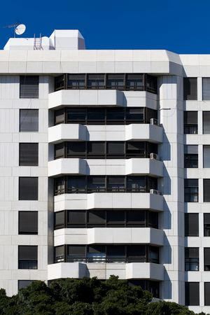 Building facade full of luxury apartments photo