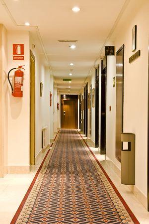 Corridor view of a new Spanish hotel . photo