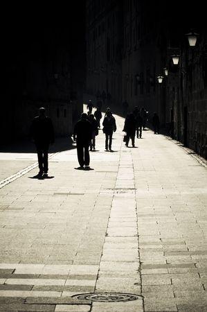 salamanca: People walking by the centenary streets of Salamanca, Spain. Stock Photo