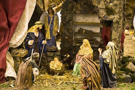 Jesus Christ, Virgin Mary and Joseph in a crib scene Stock Photo - 2211588