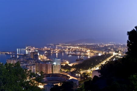 malaga: Malaga city from the Gibralfaro castle. Stock Photo