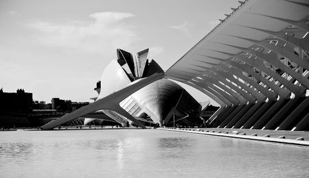 odd: Odd buildings in black and white at Valencia, Spain. Pan view