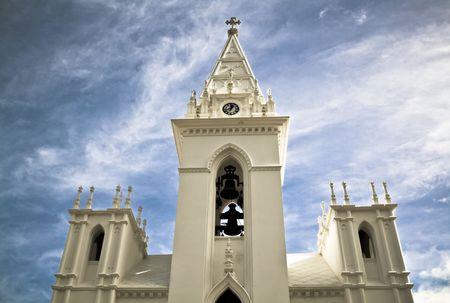 belfry: Catholic belfry in Tenerife Island, Spain. Drama toned. Stock Photo