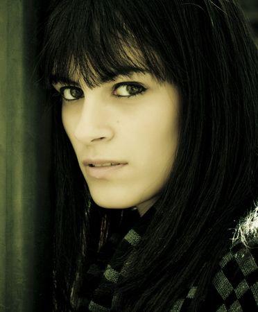 b w: Dark haired model portrait.