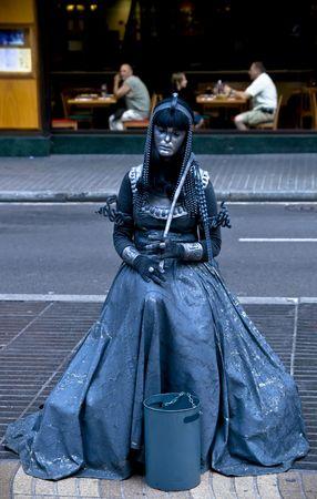 the ramblas: Street artist at Ramblas in Barcelona, Spain.