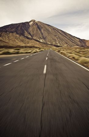Driving in a road around Teide volcano, Canary islands photo