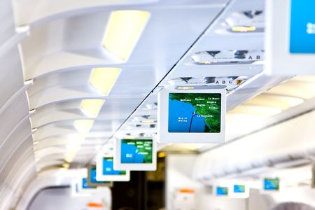 Commercial aircraft interior Stock Photo