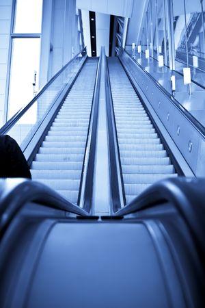 Two ways escalator in blue tone. Stock Photo - 3050169