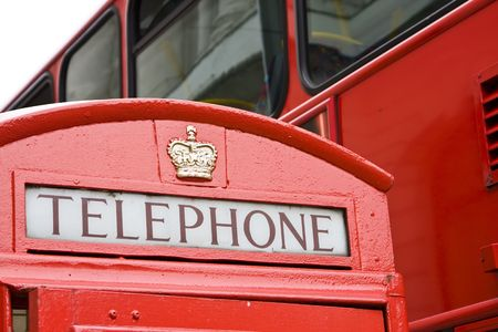 Typical red box phone and bus, London. photo