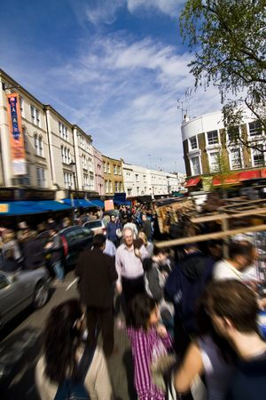 notting: Street market at Portobello St, Notting Hill.