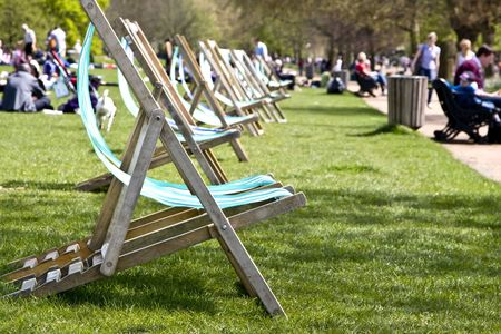 hyde: Empty deck chairs at Hyde London Park