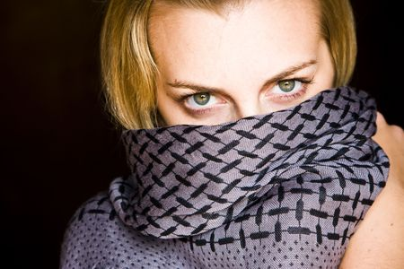 Green eyed beauty with covered face Stock Photo - 3235854