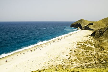 nudism: One of the virgin beaches in Cabo de Gata National Park, Spain.