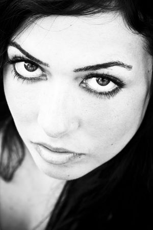 Young staring woman in contrasted black and white. Stock Photo - 3432966