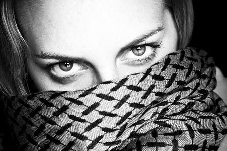 Dark woman portrait with impressive eyes