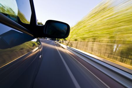conducci�n: Resumen borrosa acci�n de autom�vil a alta velocidad.