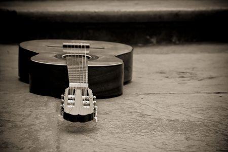 spanish culture: Spanish guitar in sepia.