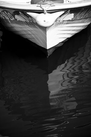 prow: Boat prow in high contrasted black and white. Stock Photo