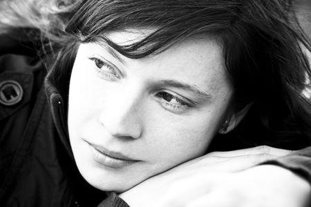 depressive: Caucasian woman in pensive expression