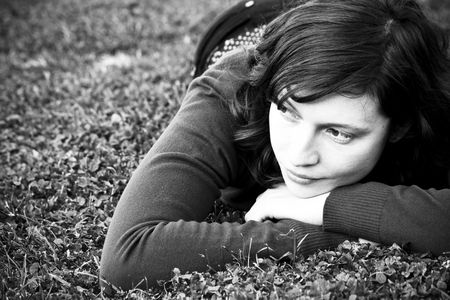 Cute green eyed woman on the grass Stock Photo - 3431719