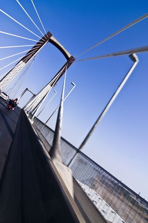 Wide angle driving over a bridge at high speed. Stock Photo - 3431611