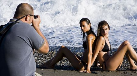 Photographer and models in summer photoshooting Stock Photo - 3431869