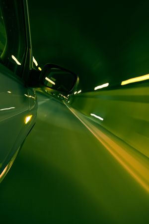 Driving fast inside tunnel, green toned. Stock Photo - 3500685